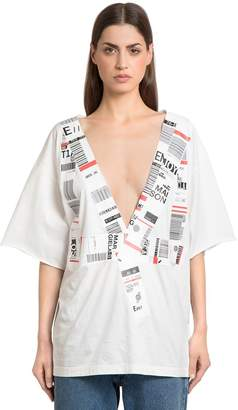 Maison Margiela Airport Stickers Cotton Jersey T-Shirt