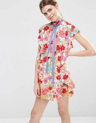 ASOS Floral Ruffle Mini Shift Dress With Neck Tie $65 thestylecure.com