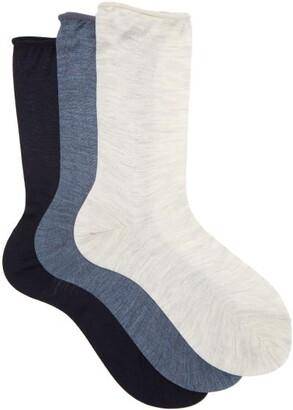Raey Pack Of Three Roll Top Silk Socks - Womens - Blue Multi