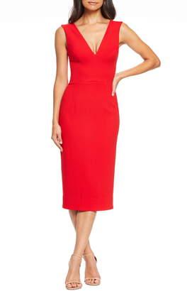 Dress the Population Sandy Plunge Neck Stretch Crepe Sheath Dress
