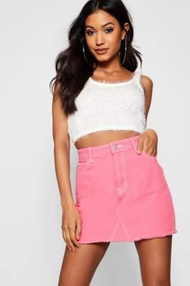 boohoo Contrast Stitch Denim Mini Skirt