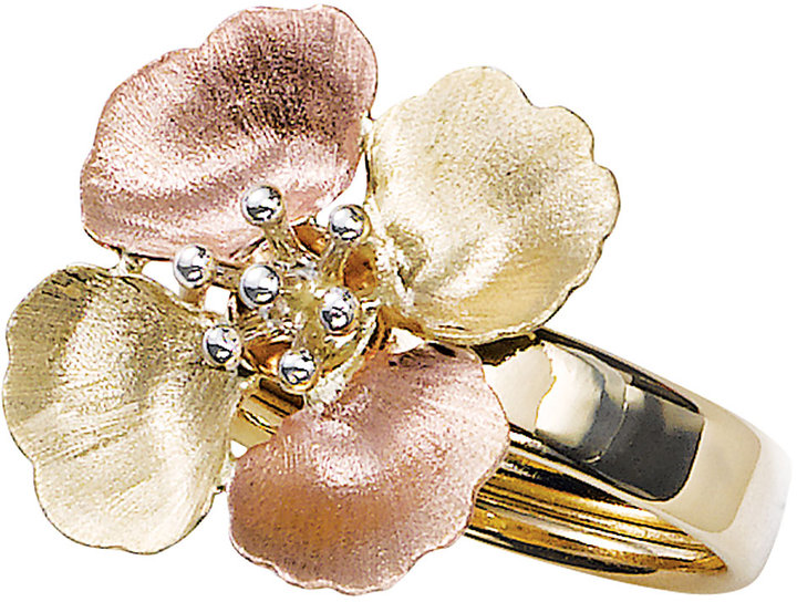 Lord & Taylor 14K Tri-Color Gold Flower Ring