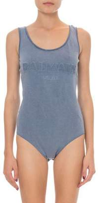 Balmain Sleeveless Embossed Logo Bodysuit