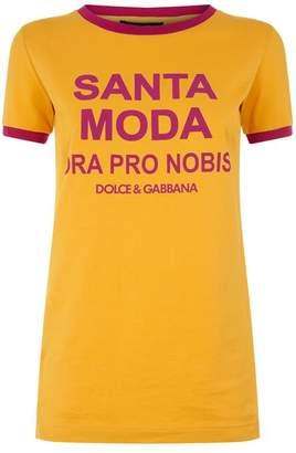 Dolce & Gabbana Slogan Contrast Trim T-Shirt