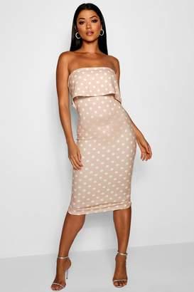 boohoo Double Layer Polka Dot Bodycon Midi Dress