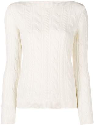Max Mara boat neck cable knit jumper
