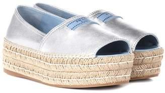 Prada Leather open-toe espadrilles