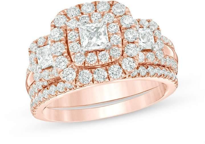 Zales 2-1/8 CT. T.W. Princess-Cut Diamond Past Present FutureA Double Frame Bridal Set in 14K Rose Gold