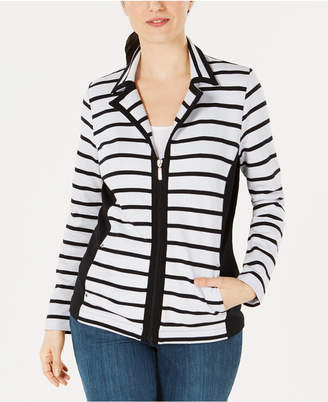 Karen Scott Striped Zippered Jacket