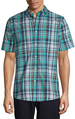 ST. JOHN'S BAY Short Sleeve Plaid Button-Front Shirt-Slim