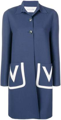 Valentino embroidered V crêpe wool coat