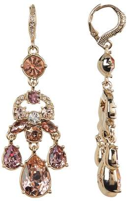 Givenchy White & Blush Glass Crystal Chandelier Earrings