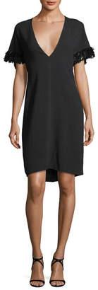 Derek Lam Pebble Crepe V-Neck Capelet Dress