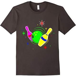 Bowling T Shirt 80s Retro Neon Sign Strike Bowling T-Shirt