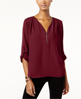 INC International Concepts Roll-Tab Zip-Trim Blouse, Only at Macy's $59.50 thestylecure.com