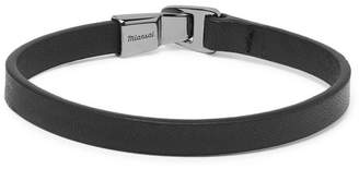 Miansai Moore Leather and Rhodium-Plated Sterling Silver Bracelet - Black
