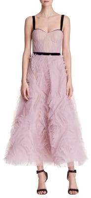 Marchesa Sleeveless Tulle Crystal Gown