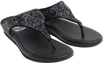 707a6c3fae1736 FitFlop Womens Banda Crystal Toe Post Sandals All Black