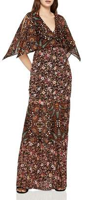 BCBGeneration Mixed-Print Tiered Maxi Dress