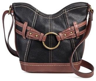 Bolo Women's Faux Leather Crossbody Handbag with Back/Interior Compartments and Zipper Closure - Black/Walnut $29.99 thestylecure.com