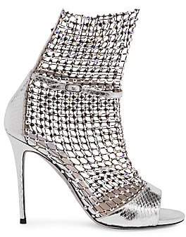 Rene Caovilla Women's Crystal Mesh Ayers Snake Leather Open-Toe Ankle Boots