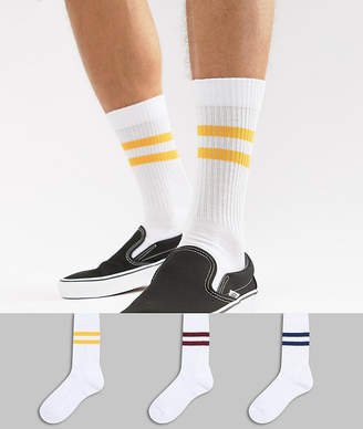 Asos DESIGN sports style socks with retro stripes 3 pack