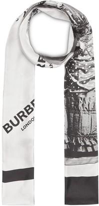 Burberry Victorian Portrait Print Silk Skinny Scarf