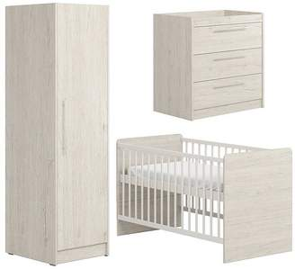 Baby Essentials Little Acorns Little Acorns Portofino Cotbed, Dresser & Single Wardrobe -Grey Oak