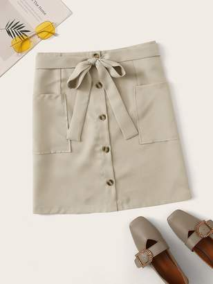Shein Button Front Pocket Patch Belt Skirt