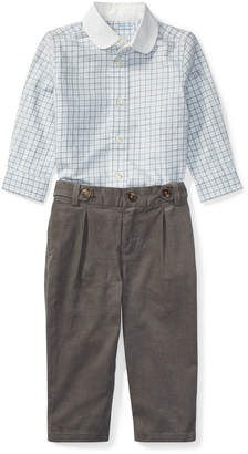 Ralph Lauren Tattersal Button-Down Dress Shirt w/ Brushed Twill Pants, Size 9-24 Months