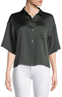Theory Easy Silk Button-Front Short-Sleeve Top