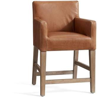 Pottery Barn PB Classic Upholstered Leather Bar Stool