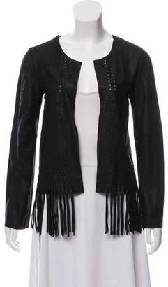 Elizabeth and James Fringe-Trimmed Leather Jacket