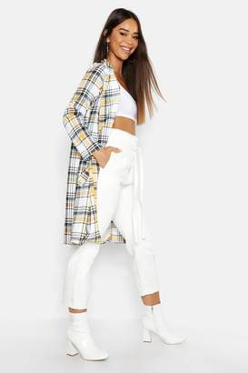 boohoo Check Collar Sleeve Duster