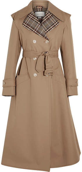 Gucci - Appliquéd Cotton-blend Gabardine Trench Coat - Sand