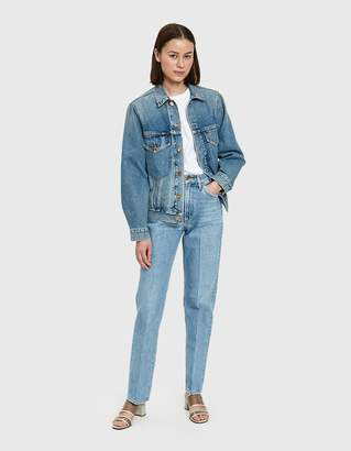 Gold Sign Pressed Classic Fit Jean in Marled Blue