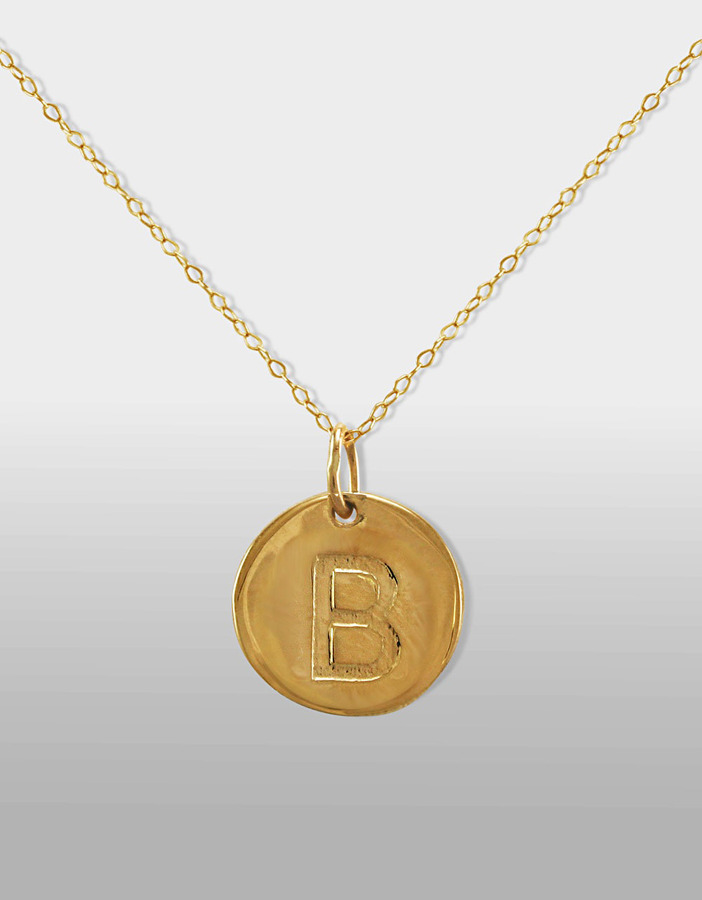 """Lord & Taylor 14 Kt. Gold Initial """"B"""" Pendant Necklace"""