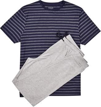 Burton Mens and Navy Jersey Jacquard Pyjama Set