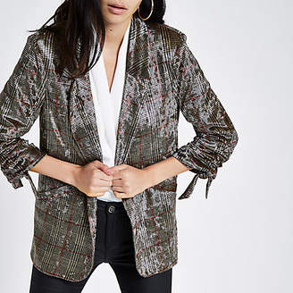 River Island Womens Brown velvet check ruched sleeve blazer