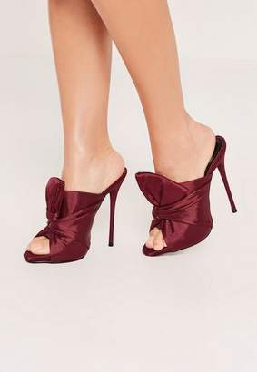 Missguided Berry Red Knotted Front Mule Heeled Sandals
