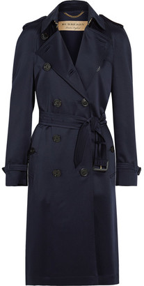 Burberry - Denverhil Silk-satin Trench Coat - Navy $2,295 thestylecure.com