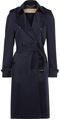 Burberry - Denverhil Silk-satin Trench Coat - Navy $2,295 thestylecure.com