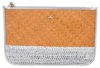 Anya Hindmarch Metallic Leather-Trimmed Woven Clutch