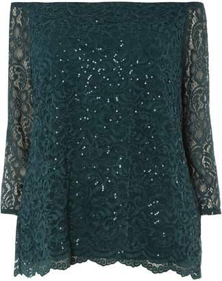 e86232e8d4d4 Dorothy Perkins Womens   Dp Curve Green Sequin Lace Bardot