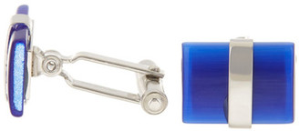 David Donahue Sterling Silver Royal Blue Fiber Optic Rectangular Cuff Links $195 thestylecure.com