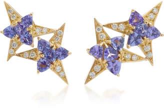 Carol Kauffmann Galactic Star 18K Gold Tanzanite And Diamond Earrings