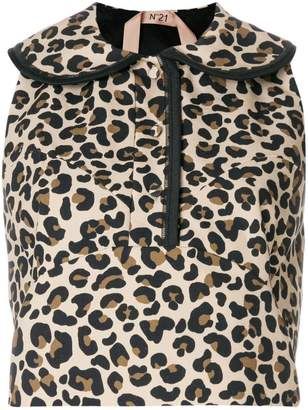 No.21 leopard print sleeveless blouse