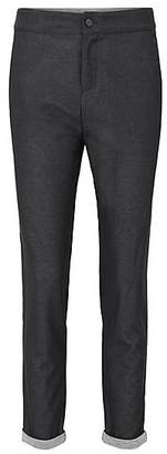HUGO BOSS Regular-fit melange chiffon trousers bonded with jersey