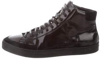 Burberry Patent Leather High-Top Sneakers
