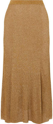 Alice + Olivia Elissa Ribbed Lurex Midi Skirt - Gold
